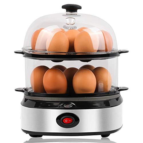 Egg-Cooker,14 Eggs Capacity,Food & Vegetable Steamer,Rapid Electric Boiler for Soft,Medium,Hard Boiled Eggs,Poached Eggs,Scrambled Eggs,with Egg Piercer