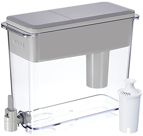 Brita Extra Large 18 Cup Filtered Water Dispenser with 1 Standard Filter, Made without BPA, UltraMax, Gray
