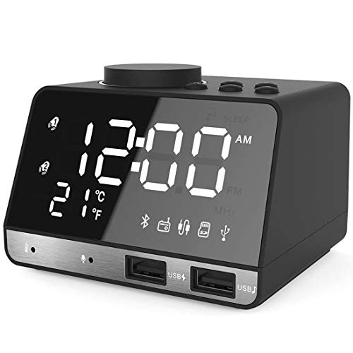 Ziivron Alarm Clocks for Bedrooms, 4.2' LED Digital Alarm Clock Radio with FM Radio, Dual USB Port for Charger, Snooze, Bluetooth AUX TF Card Play, Battery Backup, Best for Men