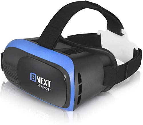VR Headset Compatible with iPhone & Android Phone - Universal Virtual Reality Goggles - Play Your Best Mobile Games 360 Movies with Soft & Comfortable New 3D VR Glasses   Blue   w/ Eye Protection
