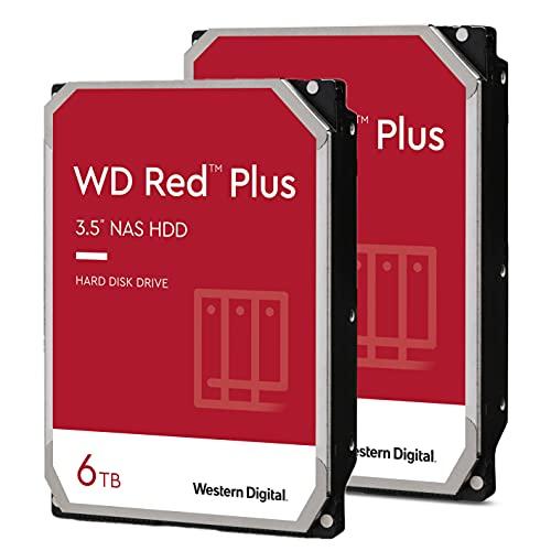 Western Digital - 6TB (6TB x 2) WD Red Plus NAS Internal Hard Disk Drive - 5640 RPM, SATA 6 GB/s, 128 MB Cache, 3.5' HDD, Crypto Chia Mining - WD60EFZX