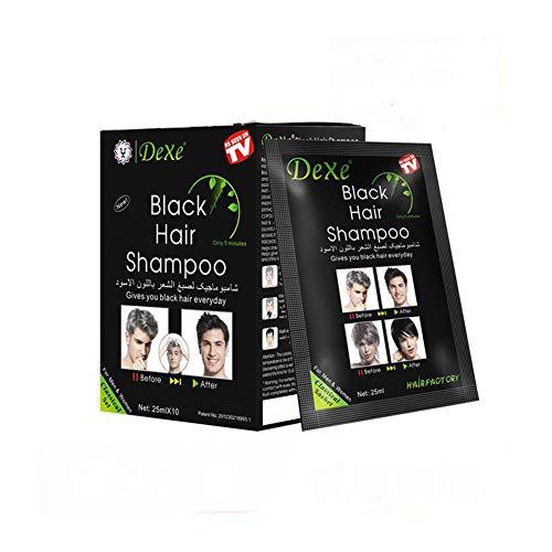 Instant Hair Dye Hair Color Shampoo Semi-Permanent Hair Shampoo - 10-Bag/Box (black)