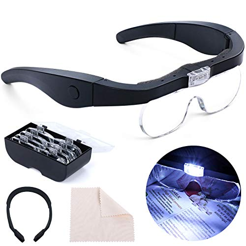 Headband Magnifier Rechargeable Magnifying Glass with LED Light Hands Free Magnifying Glass for Reading Interchangeable Magnification Lenses 1.5X 2.5X 3.5X 5X for Close Work Jewelry Hobby Crafts