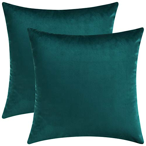 Mixhug Set of 2 Cozy Velvet Square Decorative Throw Pillow Covers for Couch and Bed, Teal, 18 x 18 Inches