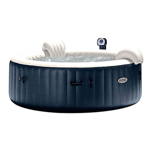 Intex 28409E PureSpa 6 Person Home Inflatable Portable Heated Round Hot Tub Spa 85-inch x 28-inch with 170 Bubble Jets and Built in Heat Pump, Blue