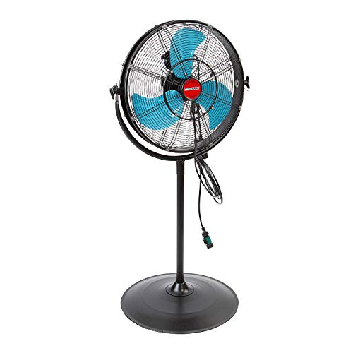 OEMTOOLS 23978 20 Inch High-Velocity Misting Pedestal Tilt Fan, Outdoor Water and Dust-Resistant Cooling Option, 5400 CFM, GFCI Plug, Ideal for Jobsites, Restaurants, Patios, and More, Black