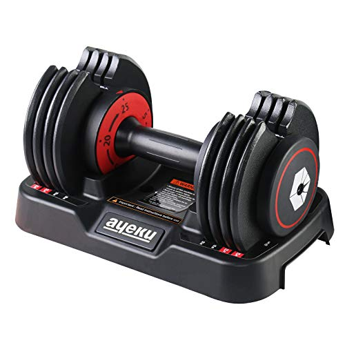AyeKu Adjustable Dumbbell - Unipack Adjustable Dumbbell 25lb Fast Weight Adjust by Turning Around Handle bar When You Hear a Click Convenient core Body Workout Fitness at Home Gym(Red Single)