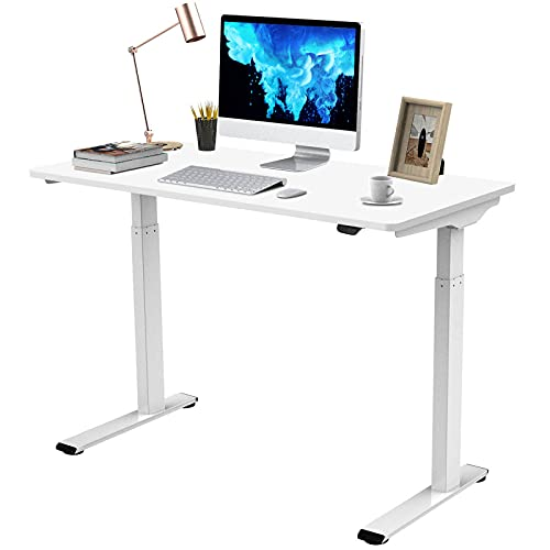 Flexispot Quick Install Standing Desk EC9 Electric Height Adjustable Desk for Home Office 48 x 24 Inches Sit Stand Desk Whole-Piece Desk Board VICI(White Frame + 48' White Top)