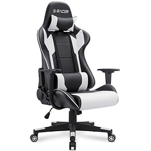 Homall Gaming Chair Office Chair High Back Computer Chair Leather Desk Chair Racing Executive Ergonomic Adjustable Swivel Task Chair with Headrest and Lumbar Support (White)