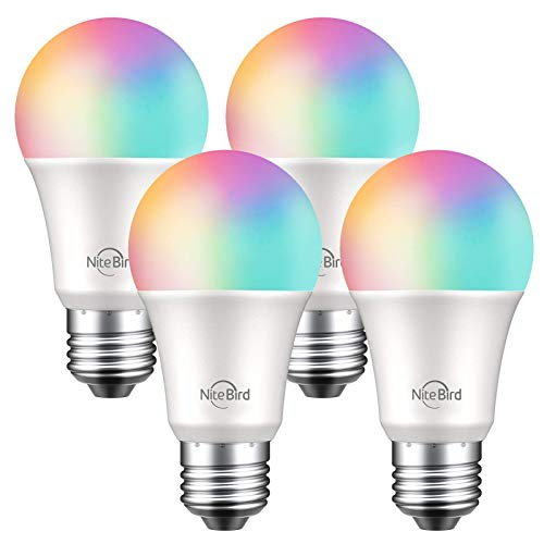 NiteBird Smart Light Bulbs Works with Alexa Echo and Google Home, WiFi Dimmable Color Changing LED Lights Bulbs, A19 E26 8W Warm White 2700k, 75W Equivalent, No Hub Required,4 Pack