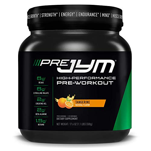 Pre JYM Pre Workout Powder - BCAAs, Creatine HCI, Citrulline Malate, Beta-Alanine, Betaine, and More   JYM Supplement Science   Tangerine Flavor, 20 Servings