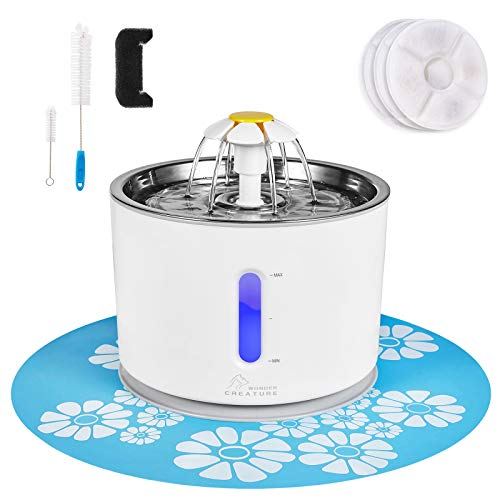 Cat Water Fountain Stainless Steel, 81oz/2.4L Pet Water Fountain with Intelligent Pump and LED Indicator for Water Shortage Alert, Cat and Dog Fountain with 3 Filters, 1 Mat and 2 Cleaning Brushes