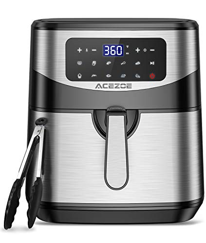 7.4 Quart Air Fryer, Acezoe 9 Presets Electric Air Fryers Oven with Preheat, 1700 Watts Hot Air Fryers with LED Digital Touchscreen,Nonstick Basket, 23 Recipes, Stainless Steel Large Vortex Air Fryers