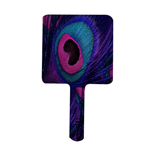 Hand Mirror Elegant Purple Peacock Tail Handheld Mirrors with Handle Portable Hand Held Makeup Cosmetic Self Haircut Personal Paddle Barber Mirror for Women Men Kids Square Pink