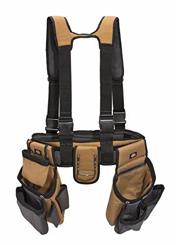 Dickies 4-Piece Carpenter's Rig, Padded Tool Belt Suspenders, Cooling Mesh, Leather Tool Belt, Steel Buckle, Grey/Tan, 3.8 lb.