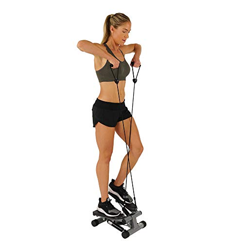Sunny Health & Fitness Mini Stepper with Resistance Bands, Black