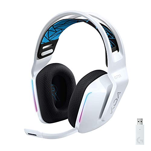 Logitech G733 K/DA Lightspeed Wireless Gaming Headset with Suspension Headband~16.8 M. Color LIGHTSYNC RGB, Blue VO!CE Mic Technology and PRO-G Audio Drivers - Official League of Legends KDA Gear