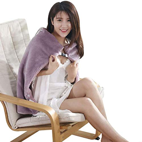 USB Heating Blanket Throw Electric Shawl Battery Operated, Heated Cape Heating Soft Flannel Lap Blanket, Blanket Heated Shawl USB Cordless Wrap for Women - Washable Pink GJXJY