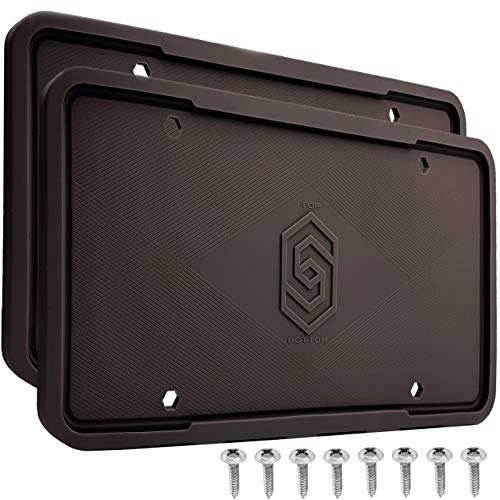 Solid Silicone Black License Plate Frame Covers 2 Pack- Front and Back Car Plate Bracket Holders. Rust-Proof, Rattle-Proof, Weather-Proof ( Black).