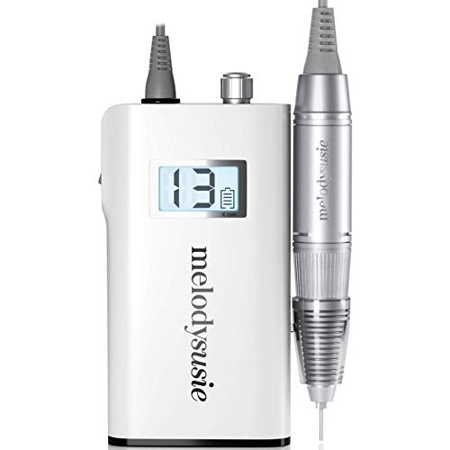 MelodySusie Professional Rechargeable 30000 rpm Nail Drill, Portable E-File with Long Life Battery, Electric Tool for Acrylic Nail Natural Extension Poly Nail Gel, High Speed, Low Heat, White
