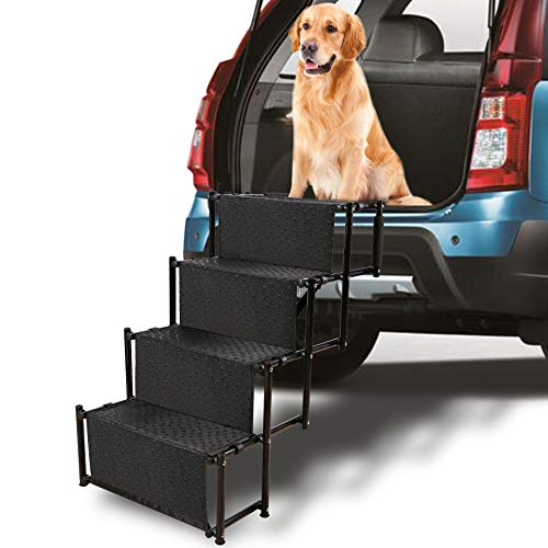 Domaker 4 Step Pet Stairs 30 Inches High, Sturdy Metal Folding Cat Dog Stairs for Car SUV Jeep Truck, Lightweight Portable with Shoulder Strap,Black