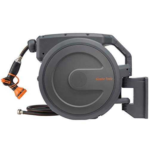 Giraffe Retractable Garden Hose Reel 1/2' 100ft with 9 Pattern Hose Nozzle, Wall Mounted Water Hose Reel Automatic Rewind with Any Length Lock and 180° Swivel Bracket