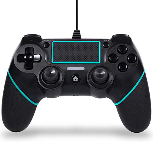 Wired Game Controller Compatible with PS-4,with Motion Motors,Mini LED Indicator and Anti-Slip Design-Berry Blue