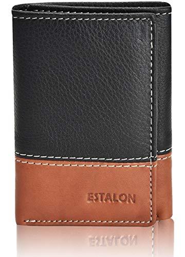 Card Holder Wallet for Men - Brown Leather RFID Blocking Slim Trifold Wallet…