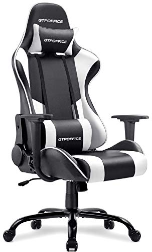 Gaming Chair Massage Office Computer Chair for Adult Reclining Adjustable Swivel Leather Computer Chair High Back Desk Chair Headrest and Massage Lumbar Support Cushion,1 Pack (White)