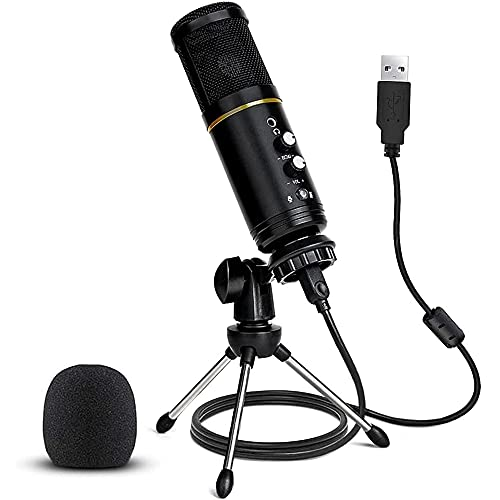 USB Microphone, USB Microphone for Computer, USB Microphone for PC, Recording, Streaming, Gaming Microphone, Compatible with Laptop Desktop Windows Computer