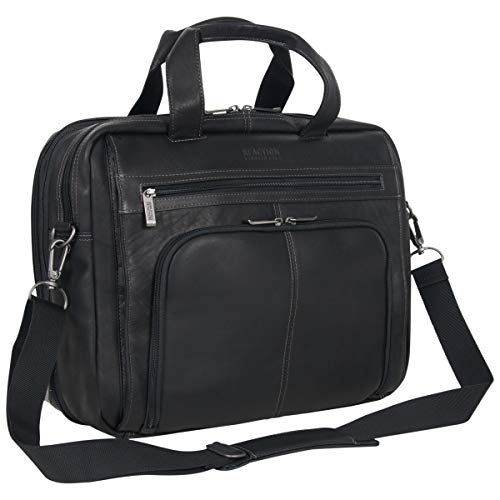 Kenneth Cole Reaction Out Of The Bag' Manhattan Colombian Leather RFID 15.6' Laptop Briefcase, Black, One Size
