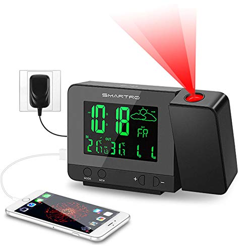 SMARTRO SC31B Digital Projection Alarm Clock with Weather Station, Indoor Outdoor Thermometer, USB Charger, Dual Alarm Clocks for Bedrooms, AC & Battery Operated