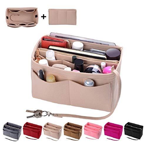Purse Organzier, Bag Organizer with Metal Zipper (Medium, Beige)