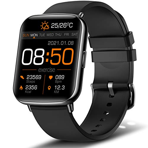 andfive Smart Watch, 1.69'' Touch Screen Fitness Tracker for Men Women, IP68 Waterproof Smartwatch with Heart Rate Monitor and Sleep Monitor, Pedometer, Stopwatch Activity Tracker for Android and iOS