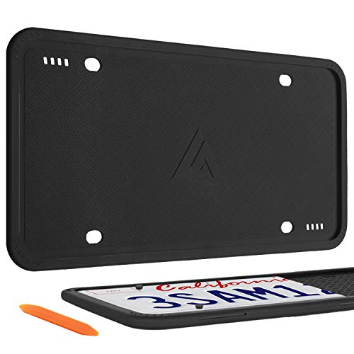 Aujen Silicone License Plate Frames, 2 Pack Car License Plate Cover, Universal US Car Black License Plate Bracket Holder. Rust-Proof, Rattle-Proof, Weather-Proof Car Accessories