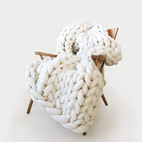 Inverse growth Handmade Chunky Knit Blanket Large Thick Wool Bulky Knitting Throw for Bedroom Decor Pet Bed Chair Mat Rug Ivory White 40'×60'