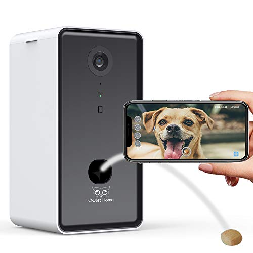 Owlet Home   1080p Pet Camera with Treat Dispenser & Tossing for Dogs/Cats, WiFi, Live Video, Auto Night Vision, 2-Way Audio, Work with Alexa
