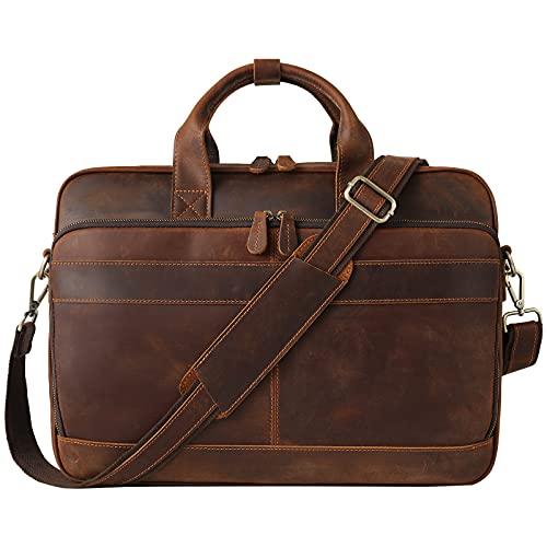 Jack&Chris Leather Briefcase for Men,Business Messenger Bag Laptop Bag Attache Case 15.6',MB005-9L