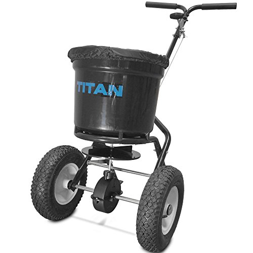 Titan Attachments Broadcast Spreader 50 lb. Drum 3 Positions Fertilizer Yard