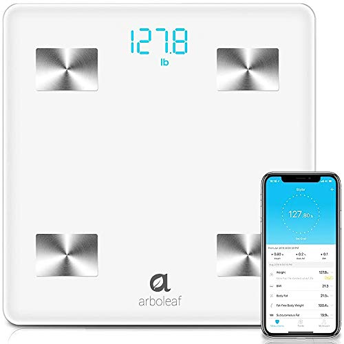 Arboleaf Digital Scale, Bluetooth Smart Scale Scales for Body Weight , Body Fat Monitor, 14 Key Composition, iOS Android APP, Unlimited Users, Auto Recognition, BMI, BMR