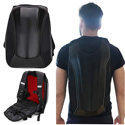 Motorcycle Backpack Waterproof Bag Hard Shell Backpack Carbon Fiber Motorbike Helmet Large Bag For Men Travelling Camping Cycling Storage