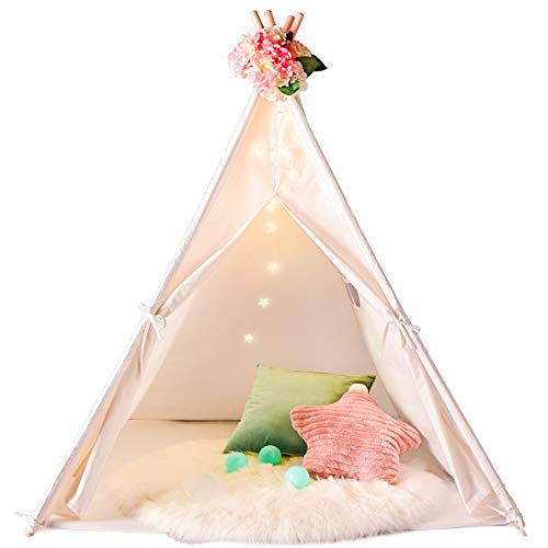 Senodeer Teepee Tent for Kids with Bunting Banner & Feathers & Carry Bag, Kids Teepee for Indoor and Outdoor Use, Toys for Boys and Girls, Kids Gifts for Birthday and Party (Tipi with Feathers)