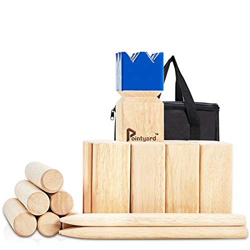 Pointyard Kubb Yard Game Set, Giant 3'' Kubb Toss Yard Game with Carrying Bag - Rubber Wooden Outdoor Lawn Games Set for Kids Adults Family