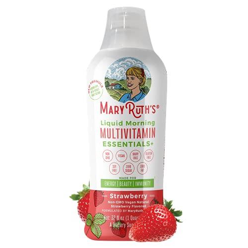 Morning Liquid Multivitamin + Zinc + Elderberry + Organic Whole Food Blend by MaryRuth's (Strawberry) Vitamin A B C D3 E Trace Minerals & Amino Acids 100% Vegan - Men Women Kids 0 Sugar 32oz