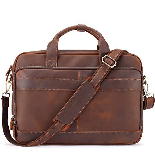 Jack&Chris Men's Genuine Leather Briefcase Messenger Bag Attache Case 15.6' Laptop, MB005-9L
