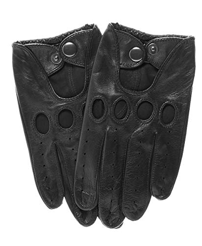 Momentum Men's Touchscreen Leather Driving Gloves by Pratt and Hart Size S Black