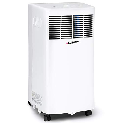 EUHOMY 8,000 BTU Portable Air Conditioner Dehumidifier, portable ac unit with Remote Control, floor air conditioner with Window Installation Kit For Room, Office, Dorm, Bedroom, White