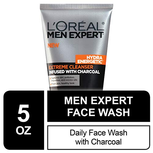 L'OREAL PARIS Men Expert Hydra Energetic Facial Cleanser with Charcoal for Daily Face Washing, Mens Face Wash, Beard and Skincare for Men, 5 fl. Oz
