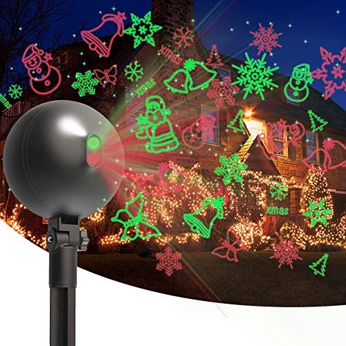 Christmas Laser Lights Projector Outdoor Lazer Projection Light Waterproof Projectors Led Landscape Spotlight Xmas Show Display for Holiday Decorations (Multi-Colored)
