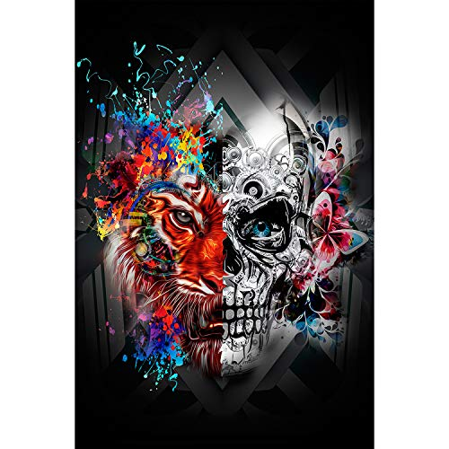 1000 Piece Jigsaw Puzzle for Adults - Tiger and Skull Puzzle - Wooden Puzzle - for Adults Teens Educational Toys Gifts(29.5x19.7 Inches)